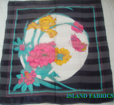 """BLACK PINK GOLD MULTI COLOR FLORAL POLYESTER SCARF SARONG WRAP Approx 40"""" x40"""""""