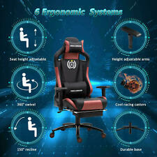 Computer Gaming Chair Swivel High-back Ergonomic Racing Leather Office Brown