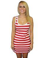 Girls / Womens Red & White Striped Long Vest Tank Top Fancy Dress Costume