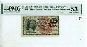 Fr-1267 $0.15 Fourth Issue Fractional Currency - 15 Cent - PMG AU53  # 51