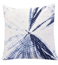2 Pcs Indian Shibori Pillow Case 16x16 Hand Tie Dye Indigo Square Cushion Cover