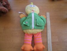 Sesame Street vintage Big Bird tie zip snap button up plush doll 14""