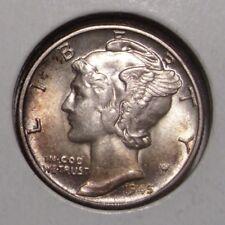 1945 Mercury Silver Dime , Toned Select BU