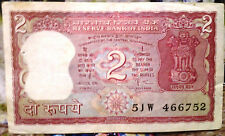 2 RUPEES BANK NOTE FULL TIGER SIGNED BY GOV. AMITAV GHOSH PREFIX W B-20 FREE S/H