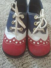 Vtg 60s 70s Red White Blue Kinney's Colorblock Oxford Shoes 6 Clown Jester Italy