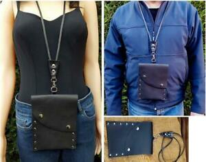 Black leather neck pouch with lanyard string Travel wallet unisex bag for neck