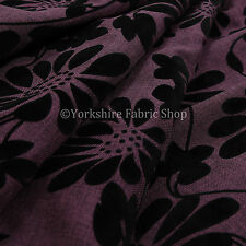 10 Metres Of Soft Raised Chenille Floral Pattern Black Purple Upholstery Fabric
