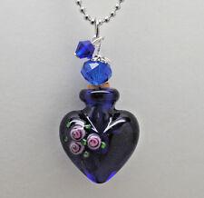 Cremation Jewelry Blue Cremation Heart Urn Necklace Rose Memorial Keepsake Urns