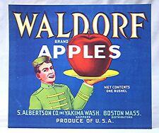 Vintage Fruit Crate label -- Waldorf Brand Apples - Albertson Co. Yakima, WA