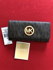 NWT AUTHENTIC MICHAEL KORS Flap Continental Fulton Wallet Brown