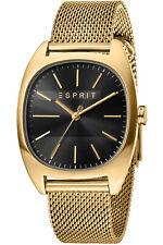 Esprit Men's Watch ES1G038M0085 Infinity Black Gold Mesh Wristwatch New