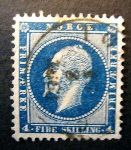 1856 Norway S# 4, 4 Skilling Blue Stamp Used, vf Nice