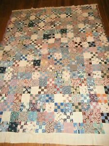 """Vintage Nine Patch Block Quilt Top 75"""" x 76"""" all handstitched, small 1"""" squares"""