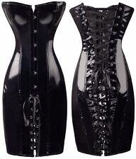 Sexy Lingerie Black Fetish PVC VINYL Lace Up Bondage Faux Leather Corset Dress