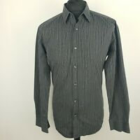HUGO BOSS Mens Formal Shirt 41 16 Long Sleeve Grey Regular Striped Cotton