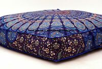 Indian Square Floor Cushion Cover Boho Mandala Ottoman Pillow Shams Pouf Cases