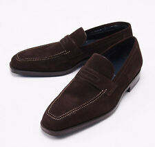 NIB $950 SUTOR MANTELLASSI Chocolate Brown Calf Suede Loafers US 7.5 Dress Shoes
