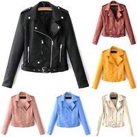 Women Ladies Lapel Leather Jacket Coat Biker Short Punk Cropped  Outerwear