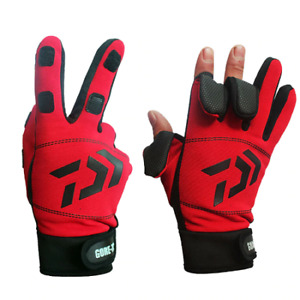 Daiwa 3 Fingers Cut Outdoor Sport Hiking Gloves Winter Warm Fishing Gloves Cotto