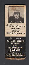 Washington Redskins 1939 Schedule Matchbook Cover Don Irwin Image Ross Jewelery