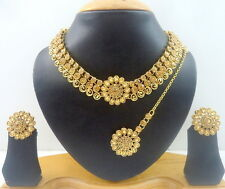 DESIGNER LCT CZ GOLD TONE INDIAN BOLLYWOOD BRIDAL PARTY NECKLACE SET JEWELRY