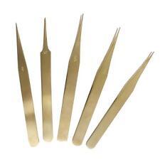 SET 5 Brass Tweezer Non-Magnetic Jewellery Watch  Repair Tweezers Solder Tool