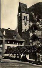Unterseen Kanton Bern Schweiz Postkarte ~1930/40 Straßenpartie an der Kirche