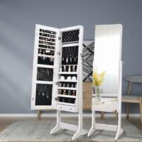 New Mirror Jewelry Cabinet Organizer w/ LED light 2 Drawers Floor Stand Lockable