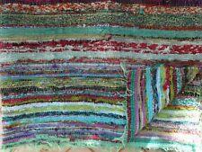 Indian Cotton Handmade 3'x5' Feet Chindi Rug Dari Throw Vintage Patchwork Wooven