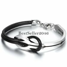 Love Infinity Stainless Steel Buckle Men Women Leather Bracelet Cuff Bangle Gift