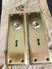 Vintage Brass Plated Door Knob Skeleton Keyhole Plate Escutcheon Cover A1