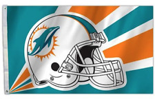 Miami Dolphins House Flag 3'x 5'  2  Grommets 2 Sided