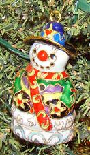 Hand Painted Cloisonne, Baked Enamel Snowman Ornament (Kubla Crafts, 4377)