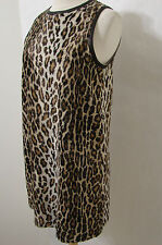Faux Leather Animal Print Sleeveless Tunic Lined Dress M