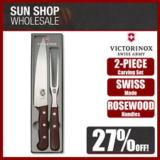 VICTORINOX SWISS Made 2 Piece Carving Set Rosewood 19cm Knife & 15cm Fork!
