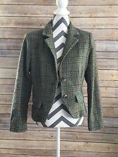 CAbi Women's Green Plaid Career Wool Blend Blazer Jacket Style 140 Size 8