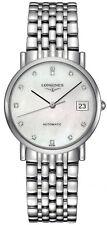 L48094876 Longines Elegant Womens Watch Auto White MOP Diamond Dial SS Bracelet