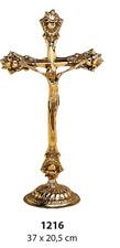 stehkreuz, Jesus Cross, Crucifix Brass Gold 1216 37 x 20,05 cm