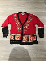 Vintage 80s Long Sleeve Chunky Knit Ugly Christmas Cardigan Sweater Womens M