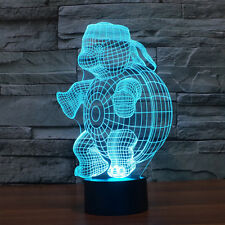 3D Night Lamp Colorful Turtle Shape Touch Control Light 7Colors Change USB LED *