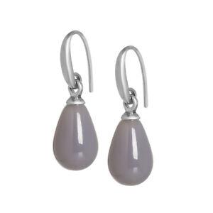 SENCE Copenhagen Earrings Ohrringe Essentials Grey Agate Matt Silver A513