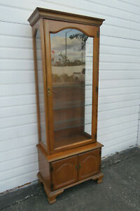 Solid Maple Tall and Narrow China Closet Display Cupboard by Jasper Cabinet 1071