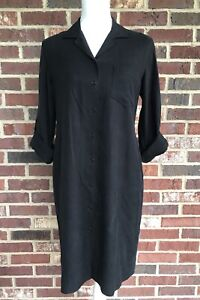 LAUREN RALPH LAUREN *10 PETITE* BLACK BUTTON FRONT 100% SILK SHIRT DRESS