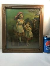 VTG Antique Framed WELCOME HOME Sisters Print Lithograph early 1900's Wavy Glass