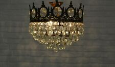 Antique Vintage Brass & Crystals Low Ceiling Chandelier Lighting Lamp Light