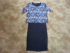 NEXT blue & navy GEOMETRIC dress Size 8 USED GOOD CONDITION