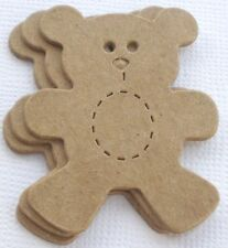 (6)  *MINI TEDDY BEAR*  Bare Unfinished Chipboard Die cuts - 1 3/4""