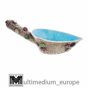 Emaille Kowsch Silber Trink Salb Gefäß Jade 1910 /20 silver enamel 🌺🌺🌺🌺🌺