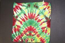 "Tie Dye Bandana 21"" x 21"" Red Rasta Fire Multi-Color 100% cotton"