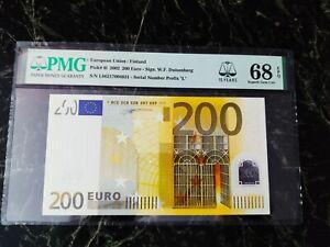 "EURO 200 BANKNOTE PMG 68 🇪🇺 W.F.DUISENBERG FINLAND 2002 ""L"" ULTRA RARE TOP 1**"